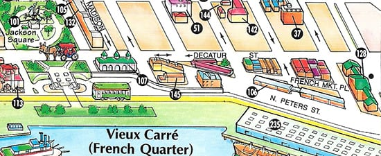 Our unique visitor maps illustrate landmarks and streets that visitors need to orient themselves and get around.