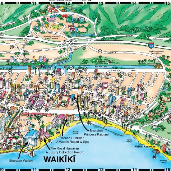 Starwood Resorts In Oahu Uses A Customized Hotel Map To Highlight Its Multiple Waikiki Properties Including Photos And Content Market Their Other