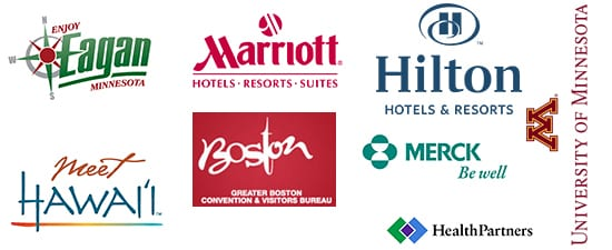 TGI's past and current client list includes United Airlines, Greater Boston Convention & Visitors Bureau, Hilton, Marriott, 3M, and more