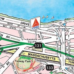 TGI's illustrated Boston Walking Map illustrates the iconic Citgo sign as a major visible landmark.