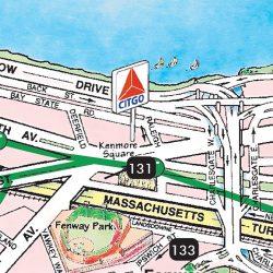 TGI's illustrated Boston Walking Map illustrates the iconic Citgo sign as a major visible landmark.