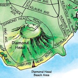 TGI's illustrated Oahu map illustrates Diamond Head as a major visible landmark.