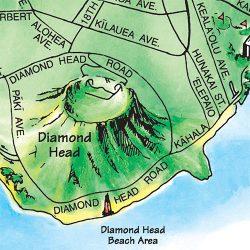 TGI's illustrated Oahu map illustrates Diamond Head as a major visible landmark.