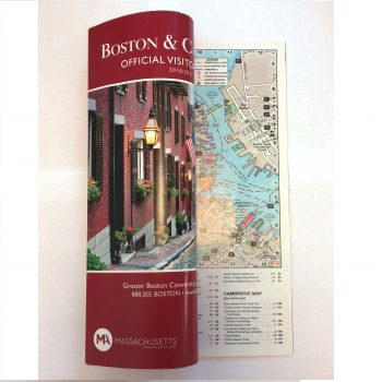 The Greater Boston Convention and Visitors Bureau uses a customized Boston map in its Official Visitors Guide.  They also use our tabloid-style flat maps, offering them to visitors and meeting planners alike.
