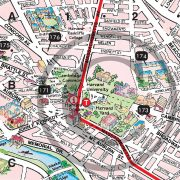 Closeup of Boston Walking Map