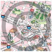 Closeup of Illustrated Minneapolis & St. Paul  map