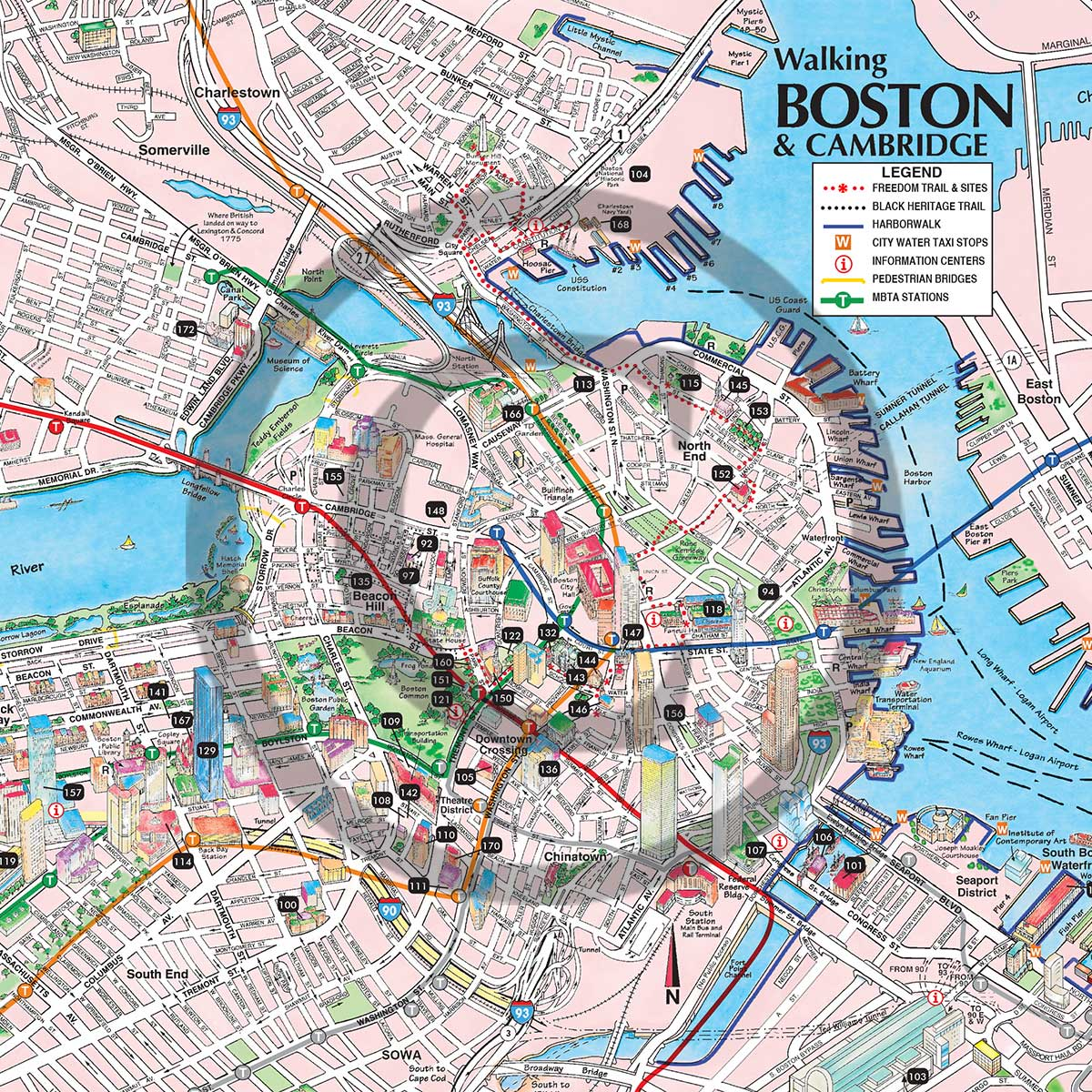 This is an image of Satisfactory Printable Map of Boston