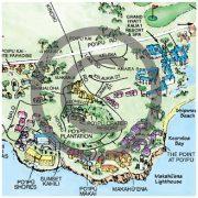 Closeup of Illustrated Kauai map