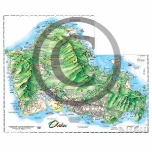 All-island Oahu map from the backside of the Illustrated Oahu map