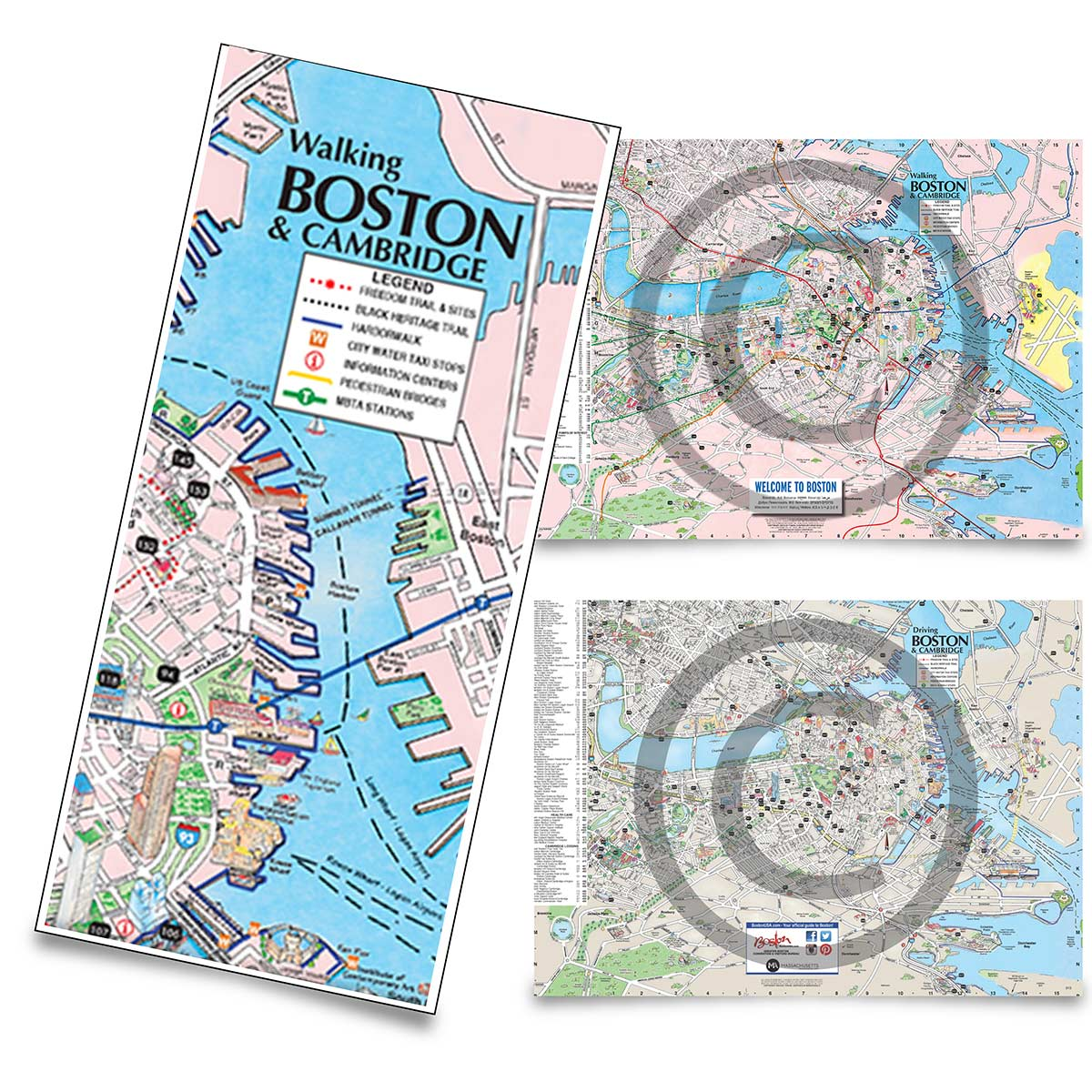 Buy Boston Walking Driving maps online Boston tourist maps