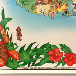 The Detailed illustrations around the border of the Oahu Illustrated Poster