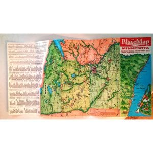 One side of the Minnesota Illustrated Map showing city index, map of the state, and detail map of the North Shore of Lake Superior.